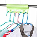 Creative 5 Holes Plastic Foldable Fixed Clothes Hanger Lock Windproof Clothing Rack Lock (Color : Green)