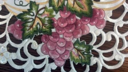 "34"" Table Runner Or Dresser Scarf With Red Purple Grapes"