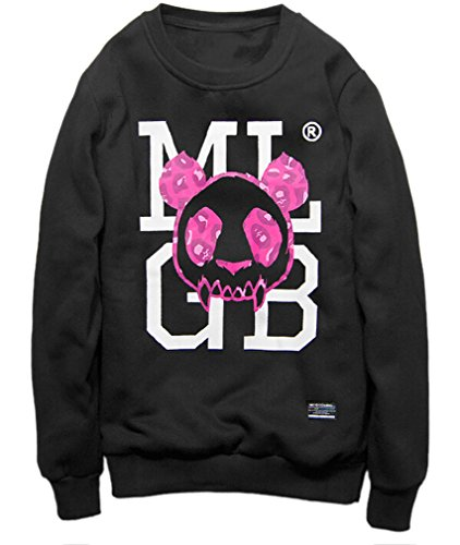 Easy Men'S Hip Hop Punk Cool Alphanumeric Round Neck Shirts Outerwear Black