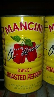 Sweet Roasted Red Peppers by Mancini 3lb Bulk Can