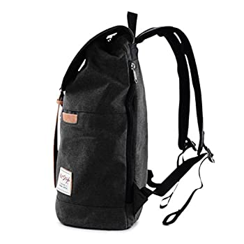 Vintage Canvas Backpack - HotStyle Waterpoof Travel Rucksack Fits 15.6 inch Laptop - Black