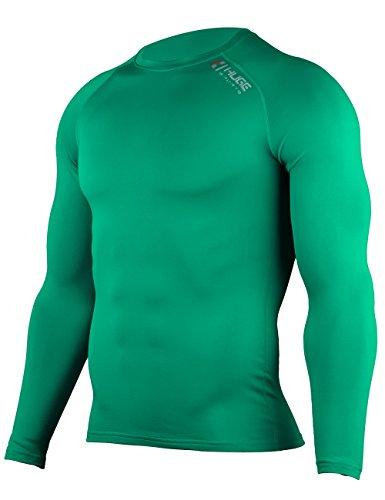 Hugesports Men's Fleece Coldgear Thermal Baselayer Compression Shirt Long Sleeves Emerald Small