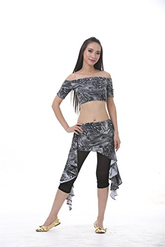 3pcs Grey Dance Exercise Clothing Peacock Pattern Short Sleeve With Waist Skirt