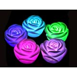 A To Z Traders® 4PC Multicolour Water Floating LED ROSES Tealights Tea Lights Candles LED And Free Hand Shape...