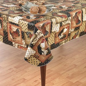 Vintage Rooster Flannel Back Vinyl Tablecloth, 60