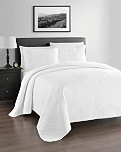 Zaria 3-Piece Lightweight Quilt / Coverlet Set - Ideal for Summer, King/Cal King, White