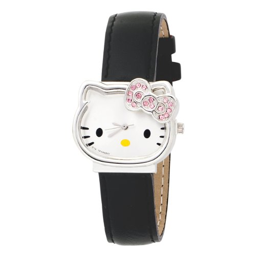 Hello Kitty Kids' HK1119 Molded Head Gem Bow Black Strap Analogue Watch