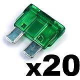 20x Fusibles Standard Enfichables Auto / Voiture / Caravane / Bateau - KFZ - Vert Verte 30 A AMP - Pour 12V / 24V - LIVRAISON GRATUITE!