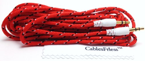 Cablesfrless (Tm) 3.5Mm Auxiliary (Aux) Audio Jack Cable (Braided Style) (10Ft Red)
