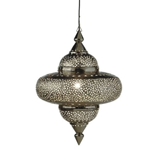 Silver Tyre Lamp with Gold Glass Beads