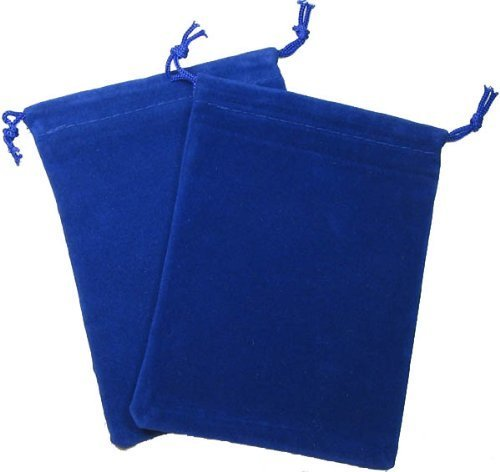 Chessex Dice: Velour Cloth Dice Bag Small (4 x 6) - BLUE - Holds Approximately 20-30 Dice