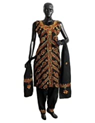 Black Kantha Stitch Cotton Kurta With Salwar And Chunni - Cotton