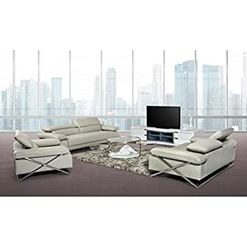 VIG- Powell Divani Casa Modern Light Grey Leather Sofa Set