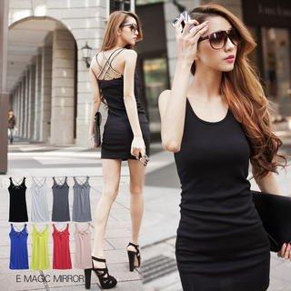 Rhinestone Strap Sleeveless Dress front-61392