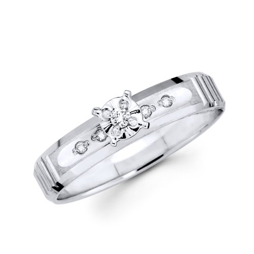 14K White Gold Round Diamond Women's Engagement Wedding Ring (1/12 ctw., GH, SI) - Size 5
