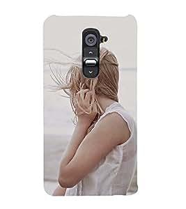 A GIRL ON A BEACH ADMIRING NATURE 3D Hard Polycarbonate Designer Back Case Cover for LG G2 :: LG G2 D800 D980