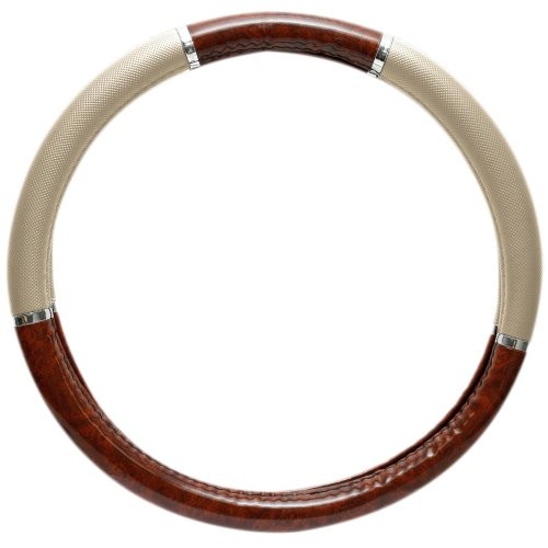 OxGord Redwood Wood Grain Steering Wheel Cover - Universal 15