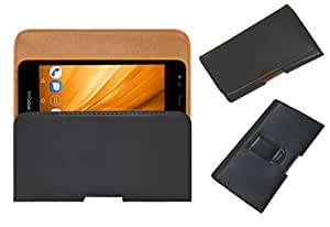 Acm Belt Holster Case For Infocus Bingo 20 Mobile Leather Cover Magnetic Closure Clip Black
