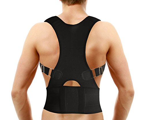 Medical-Grade Adjustable Magnetic Posture Support Back Brace – Relieves Neck, Back and Spine Pain – Improves Posture (Black)