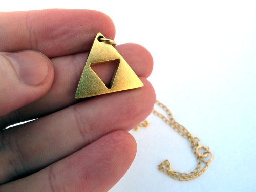 "Zelda Triforce Gold Plated Matte Necklace - Length 18"" - Handmade"