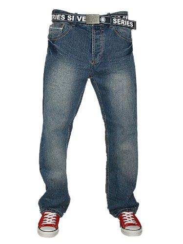 Mens Stonewash Loyalty & Faith Fuel 547 Designer Comfort Fit Jeans Size W38 L30