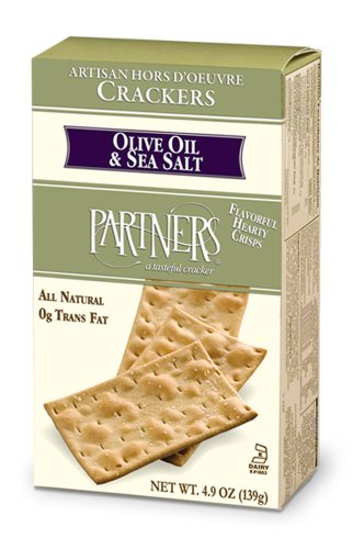 Partners Olive Oil & Sea Salt, Hors D'oeuvre Crackers, 4.9-Ounce Boxes (Pack of 6)