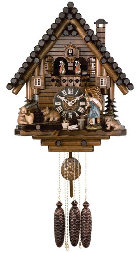 River City Clocks MD810-16 Eight Day Musical Cuckoo Clock with Dancers, Log Cabin with Bears On Seesaw, 16-Inch Tall