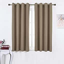 Nicetown Triple Weave Microfiber Energy Saving Thermal Insulated Solid Grommet Blackout Curtains for Patio (One Pair,52 Inch by 63 Inch,Taupe-Khaki)