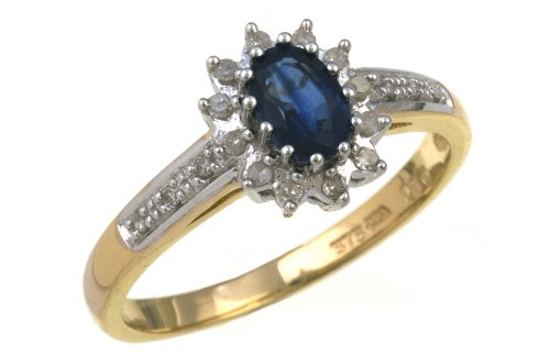Ladies' Sapphire and Diamond Dress Ring, 9 Carat Yellow Gold set with Twelve Diamonds and Diamond set Shoulders