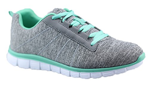 Womens Athletic Knit Mesh Running Sneaker Light Weight Go Easy Walking Casual Athletic Comfort Running Shoes Sneakers (6, Green)