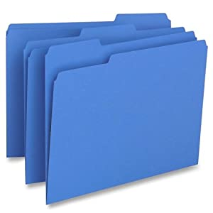 File Folder,1-Ply,1/3 Cut Assorted Tabs,Letter,100/BX,BE, Sold as 1 Box