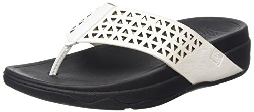 FitflopLeather Lattice Surfa - Sandali donna , Bianco (White (Urban White 194)), 38
