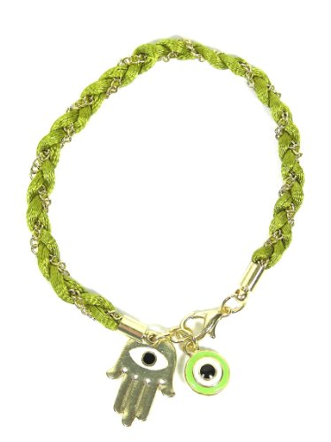 Green Hamsa Evil Eye Bracelet Chain Linked Hand of Miriam Nazar Friendship Braided Judaica Amulet Karma Fashion Jewelry
