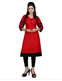 Surat Tex Red & Black Color Cotton Printed Semi-Stitched Kurti-H461KIC-2024CN