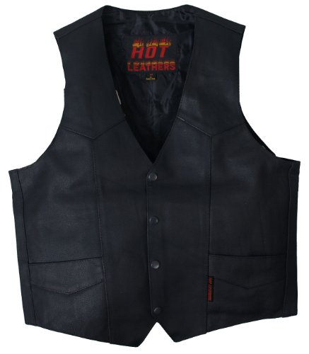 Hot Leathers Heavy Weight Cowhide Motorcycle Leather Vest (Black, XXXXX-Large)