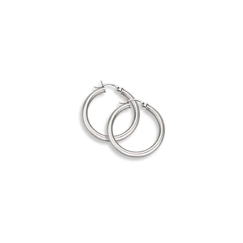 14K White Gold Hoop Earrings   1 1/4 diameter (3mm