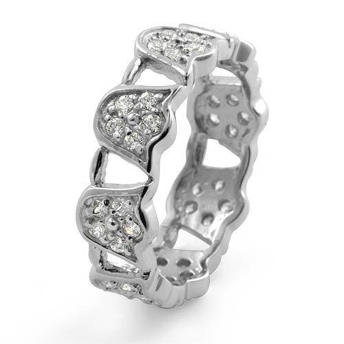 Cubic Zirconia Round Eternity Cz Stone Wedding Band Ring Sterling Silver 925 Sz7