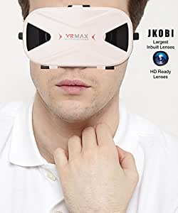 Blue Polarised Lenses Latest Version VR Headset Virtual Reality 3D Glasses Compatible For Reliance Jio LYF Water 7 -White