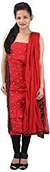 RV's Collection Women's Cotton Unstitched Salwar Suit Piece (Red And Black, RB-12)