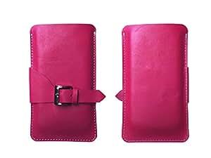 ATV Genuine Leather Pale Violet Red Designer Pouch Case Cover For Xiaomi Redmi 3x
