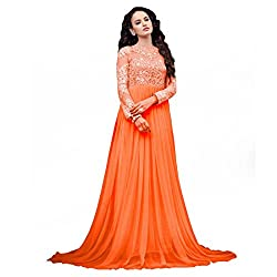 ARAJA FASHION DESIGNER ORANGECOLOR NET FABRIC ROUND EMBROIDERED&STONE WORK FANCY COLLECTION PARTY DIGITAL PRINT , MARRIAGE AND FENECK STIVAL WEAR SEMI STICHED GOWN