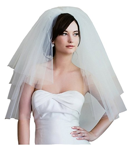 VERNASSA White Ivory Soft Tulle Wedding Bridal Veils with Comb
