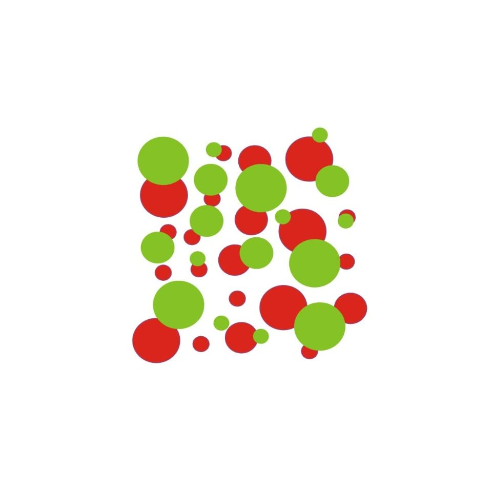 set of 106 Red and Lime Green polka dots Vinyl wall lettering stickers quotes and sayings home art decor kit peel stick mural graphic appliques decal
