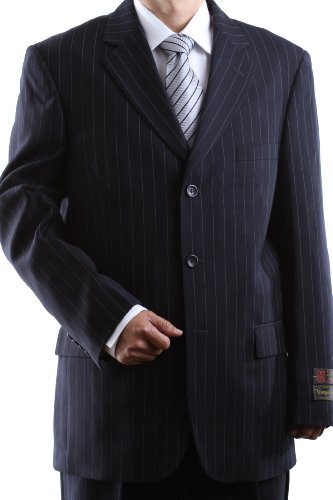 Men's Single Breasted 3 Button Navy Pinstripe Super 150′s Wool Feel Dress Suit