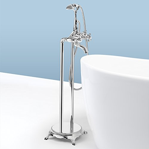 AKDY 8713 Contemporary Freestanding Floor Mount Bath Tub Filler Faucet Spout Single Handle with Handheld Shower Head, Polished Chrome (Faucet For Free Standing Tub compare prices)