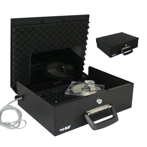 Laptopsafe, Laptoptresor, Dokumentenkassette bis 12 ' Laptops, Drahtseil, 355 x 275 x 106 mm