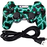 Digital Gaming World PS3 Wireless Controller For Sony Play Station-3 Console (Lightning Thunders Green Color Special...