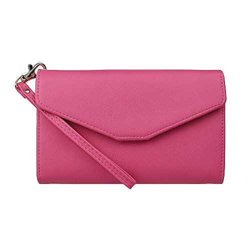 xhorizon TM Women's Soft PU Leather Envelope Wallet Button Clutch Passport Holder Card Slots Cash Compartment Pocket