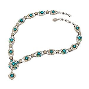 Awesome Michal Negrin Collar Necklace Decorated with Swarovski Crystals, Delicate Roses and a Center Flower Charm; Silver Coated - Special Ordered and Shipped by Genuvo Within 2 to 3 Weeks