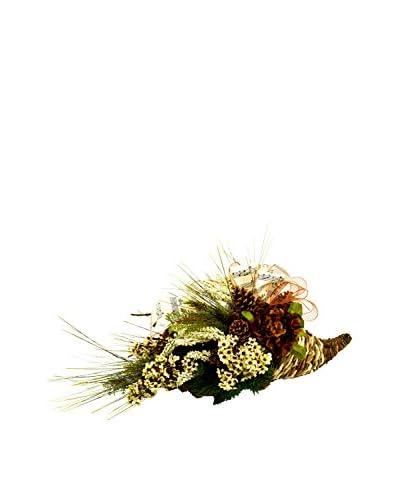 Creative Displays Rustic Pine And Floral Cornucopia, Crème/Tan/Green/Brown